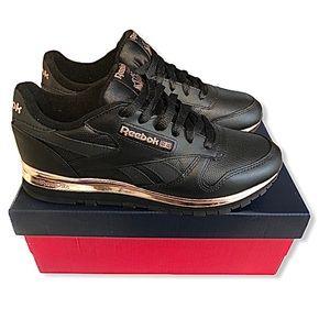 Reebok black rose gold leather running sneakers